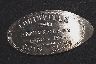 SILVER Coin Club Anniversary Elongated on 1960 Roosevelt Dime UNITED STATES(34B)