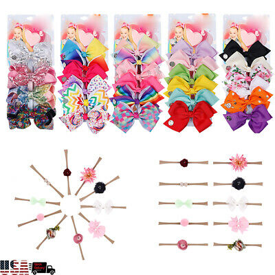 US 10 Pcs/Set Rainbow Printed Knot Ribbon Hairbands Bow Hair Chip For Kids Girls