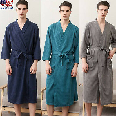 US Fashion Dressing Gown Men's Soft Long Hooded Bath Robe House Coat Nightgown