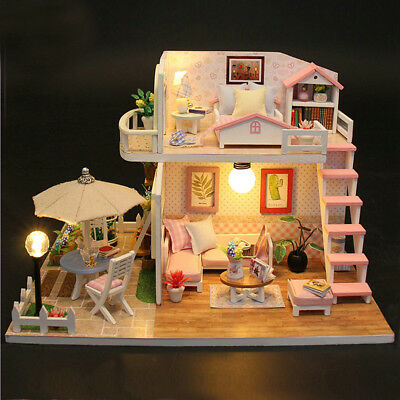 DIY LED Pink Loft Apartments Miniature Wooden Furniture Kit Doll House Girl Gift