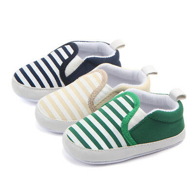 Toddler Baby Boy Shoes Newborn Crib Shoes Kids Sole Striped Shoes 0-12 Months