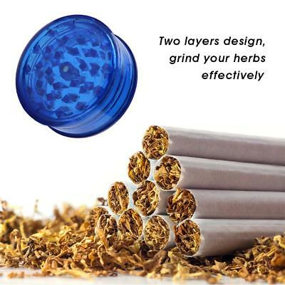60mm 2 Layers Tobacco Plastic Grinder Crusher Crank Herb Spice Smoke Muller Blue