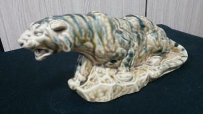 "Antique 1962 Tiger Statue Signed Japanese Chinese Multi-Color 9 1/2"" by 4"" Nice!"