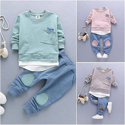 2PC Baby Boys Clothes Outfit Infant Kids Shirt Tops+Pants Clothing Outfits Set
