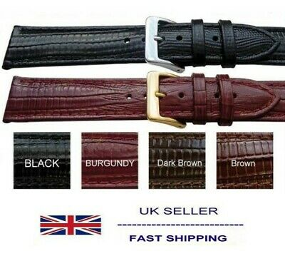 Leather Tejus Lizard Grain Watch Strap Sizes 8mm to 24mm Suits Seiko Citizen
