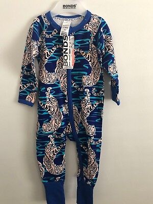 Bonds Baby Zip Wondersuit/babygrow Nwt Tip Toe Tiger Blue Unisex All Sizes