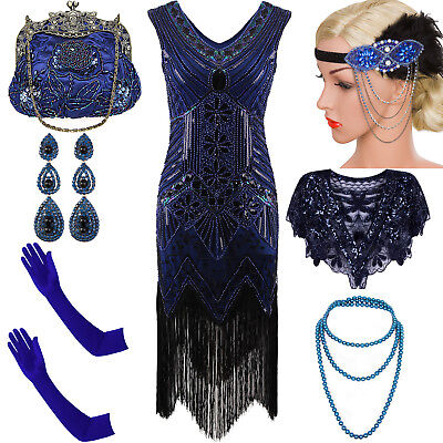 1920's Flapper Dress Gatsby Charleston Sequin Fringe Party 20s Costume Plus Size