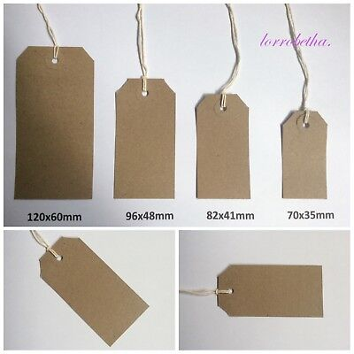 Buff Brown Textured Strung Tags Tie On Luggage Gifts Labels Wedding Craft Card