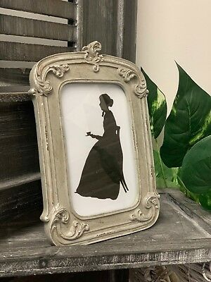 Antique Vintage French Style Grey Photo Frame Rustic Freestanding Picture Holder