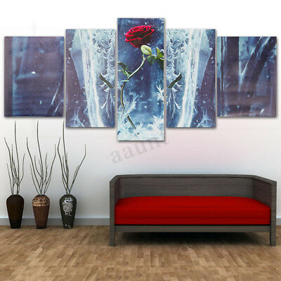 5Pcs Modern Rose Canvas Print Oil Painting Wall Art Picture Home Decor Unframed