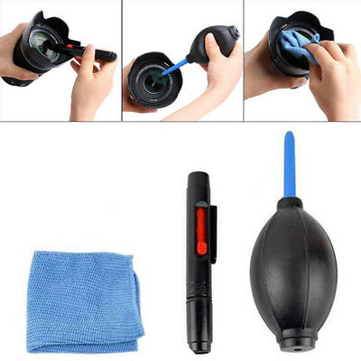 3 in 1 Lens Pen Brush Cleaning Cleaner Dust Blower Cloth Kit For DSLR VCR Camera