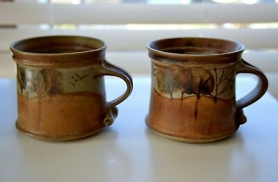 Pair Maldon Pottery 'landscape' Mugs - Hand Decorated By Neville Wilson