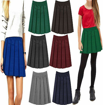 Girls Uniform Box Pleated Mini Skirt Kids Elasticated Waist School Wear Skirt
