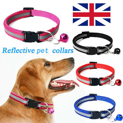 New Pet Puppy Cat Kitten Soft Glossy Reflective Collars Safety Buckle with Bell