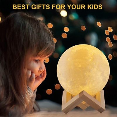 3D Printing Moonlight Touch Moon Lamp LED Night Light 3 Color Changing Xmax Gift
