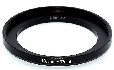 Camera 43.5mm Lens to 52mm Accessory Step Up Adapter Ring 43.5mm-52mm Black