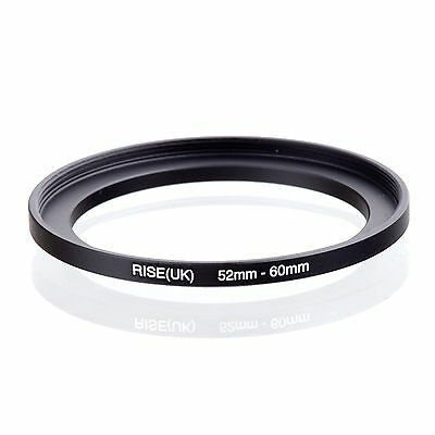 Camera 52mm Lens to 60mm Accessory Step Up Adapter Ring 52mm-60mm Black