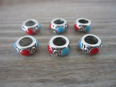 10 PCS/Lot Tibetan Turquoise and Red Dreadlock Dread Hair Braid Beads 5mm Hole