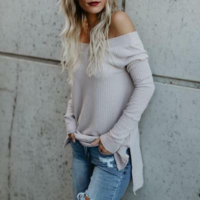 Casual Solid Color Sexy Off Shoulder Long Sleeve T-shirt  Blouse Tops For Women