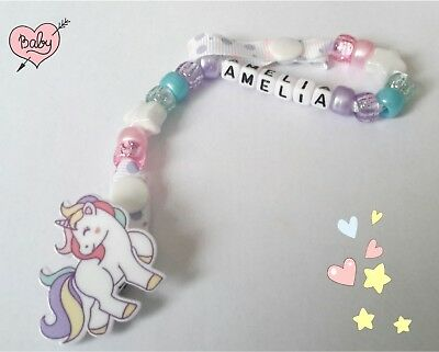 💕💕Personalised Dummy Clip ⭐️Dummy Chain  Gift **🌟☆UNICORN☆🌟**