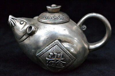 Collectible Chinese Old tibet Silver handwork mouse shape decorate rare Teapot