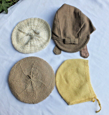 4 x  Antique Child  Baby Bonnets or Doll Hats berets  Vintage Childs Lot girls