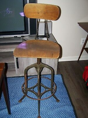 Vintage Toledo Industrial Drafting Stool with Adjustable Seat and Backrest Heigh