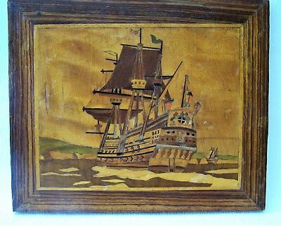Arts & Crafts Movement Period Piece Marquetry Wooden Panel c.1900 Galleon Image