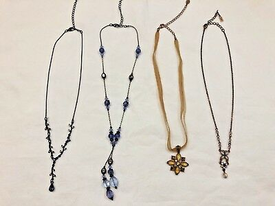 1928 2028 LOT 4 Necklaces Copper Butterfly Beaded Blue Crystal Purple Sahara