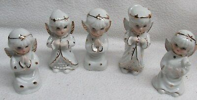 Vintage 5 White Trimmed with Gold Porcelain/China Christmas Angels Figurines