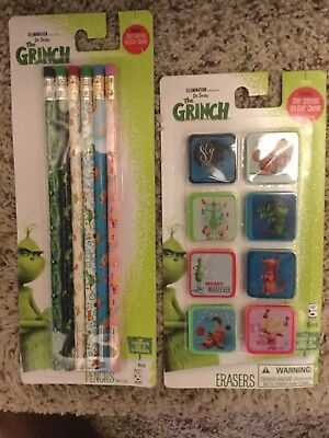 Dr. Seuss The Grinch Christmas Stocking Stuffers Pencils Erasers FREE SHIP!!