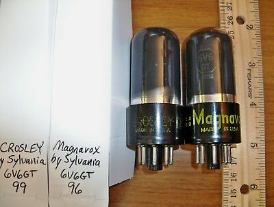 2 Strong Matched Sylvania Made Gray Glass 6V6GT Tubes