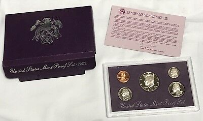 1992US United States Mint Silver Proof Set5 Coin w Certificate Purple Case !