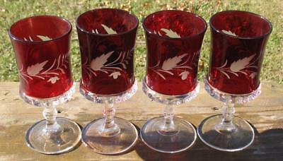 "EAPG CLEAR with RUBY STAIN ""DAKOTA"" set of (4) FTD. GOBLETS w/""ETCHED LEAF"""