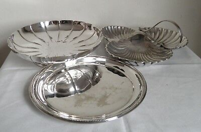 Three Vintage Silver Plated Serving Dish Salver Bowl inc Mappin and Webb