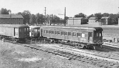 Original B&W negative London & Port Stanley Railroad interurban car #21 in 1955