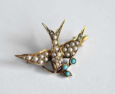Exquisite Victorian 15ct gold seed pearl, turquoise & ruby swallow brooch pin