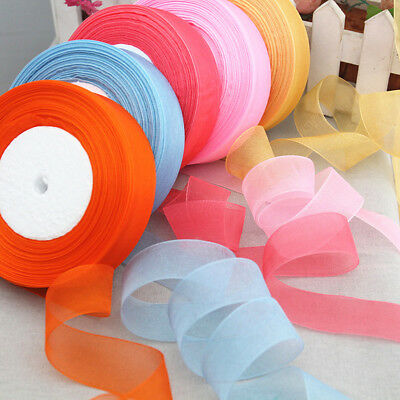 20/40mm Sheer Organza Satin Edge Ribbon Fabric Bows Craft Wedding 50Yards Roll