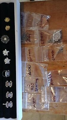 Huge Lot Of 19 Vintage Jewelry And Designer Signed Jewelry Findings - Some Arora