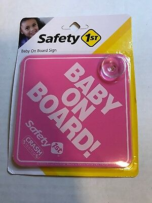 BABY ON BOARD pink white gloss VINYL car window sign with suction cups