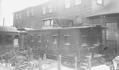 Original B&W negative Youngstown Southern Railroad wood caboose @2 in 1940's