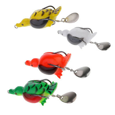 4pcs Spoon Fishing Lure Life-like Duck Frog Fishing Bait with Spoon Sequins
