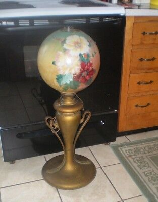 Antique Late 1800's -Early 1900's Victorian Oil / Electric Brass Table Lamp