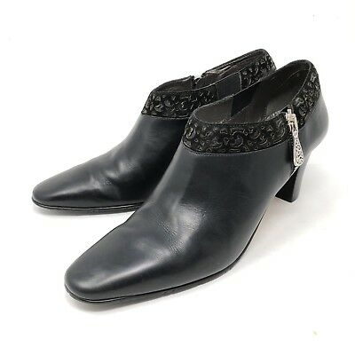 Brighton Reel Black Leather Zip Up Ankle Booties Boots Womens Size 9N $240