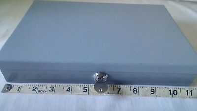 "Gray Metal Cash Box Coin Tray Lockable w/Key 11.5"" x 7.5"""