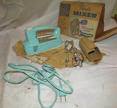 Vintage Ge Hand Mixer M27 Torquoise Unused In Box General Electric Kitchen