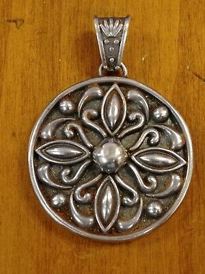 Vintage Sterling Silver Pendant Marked MWS 925 Mexico Nice Floral Design