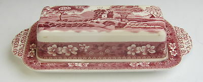 Spode China TOWER PINK (OLD MARK) 1/4lb Covered Butter Dish EXCELLENT