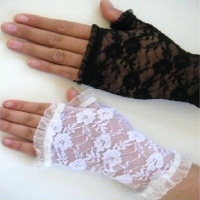 Floral Lace Gloves Half Finger Ladies Fashion Party Costume Wedding Fingerless
