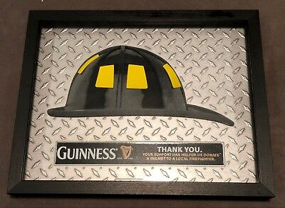 "GUINNESS FIREFIGHTER FIREMAN'S HELMET Bar Wall Sign 14.5"" X 12"" new Rare! beer"